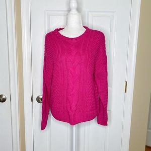 One A Crewneck Sweater Pullover Cable Knit Chunky
